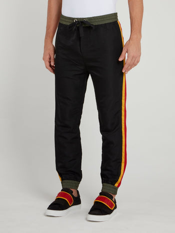 Drawstring Side Stripe Sweat Pants