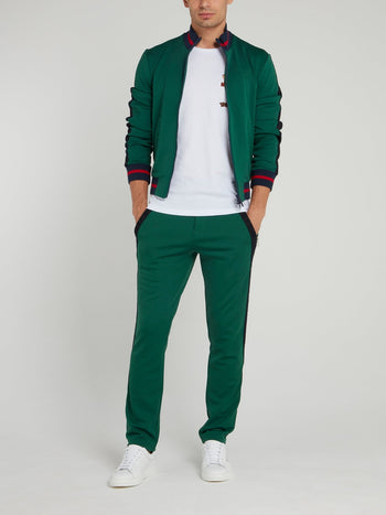 Green Contrast Waistband Trousers