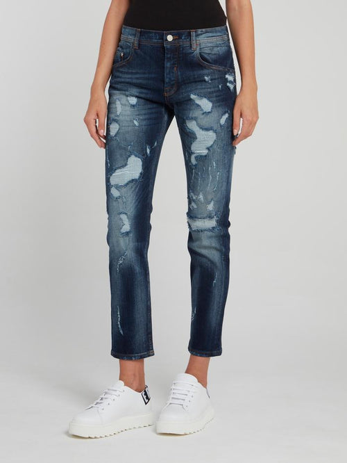 Distressed Straight Leg Cropped Jeans