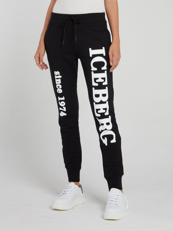 Black Logo Cotton Track Pants