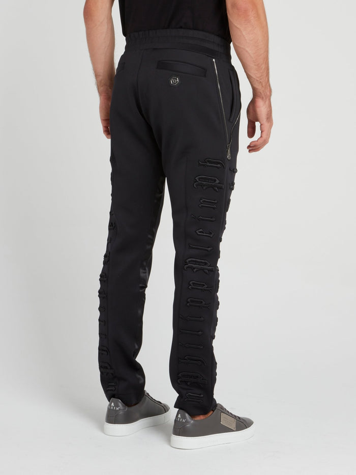 Black Logo Embroidered Jogging Trousers