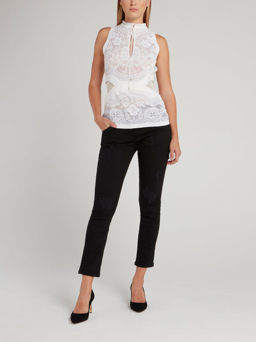 White Perforated Keyhole Top