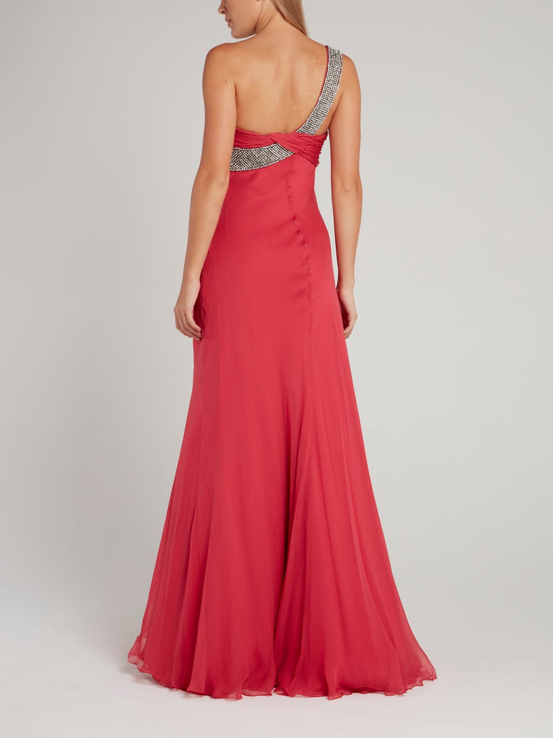 One-Shoulder Draped Empire Maxi Dress