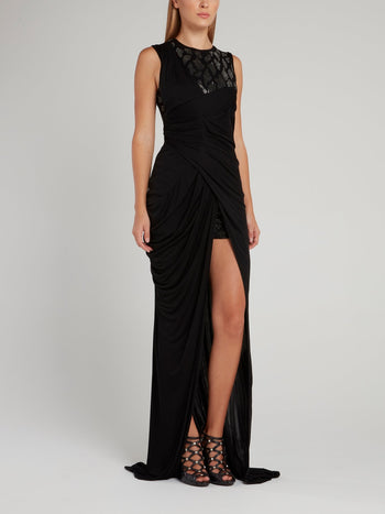 Black Thigh High Slit Maxi Dress