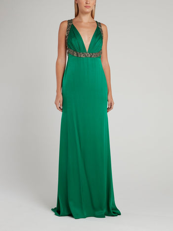 Green Décolleté Empire Maxi Dress