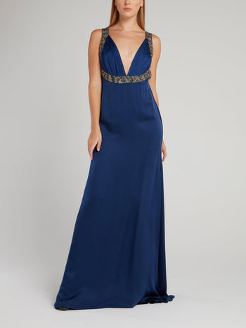Navy Décolleté Empire Maxi Dress