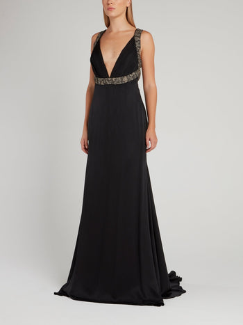 Black Décolleté Empire Maxi Dress