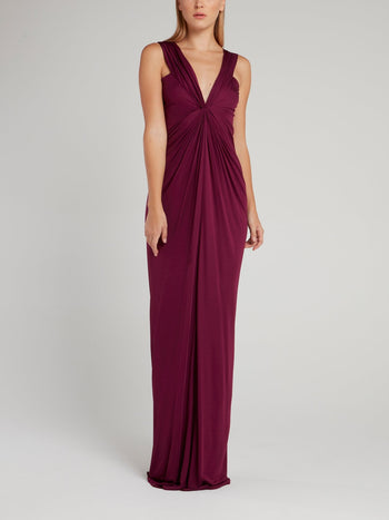Burgundy Draped Plunge Maxi Dress