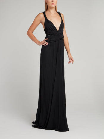 Black Embellished Décolleté Cross Back Maxi Dress