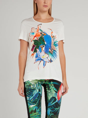 Flora and Fauna Printed Scoop Neck Shirt