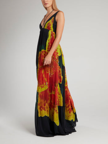 Black Flower Printed Empire Maxi Dress