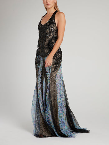 Beadwork Lace Halter Maxi Dress