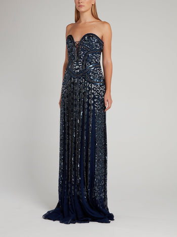 Metallic Embellished Flared Maxi Dress