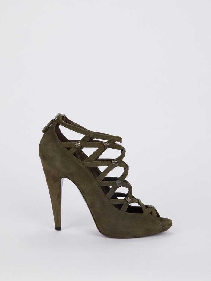 Olive Suede Cage Pumps