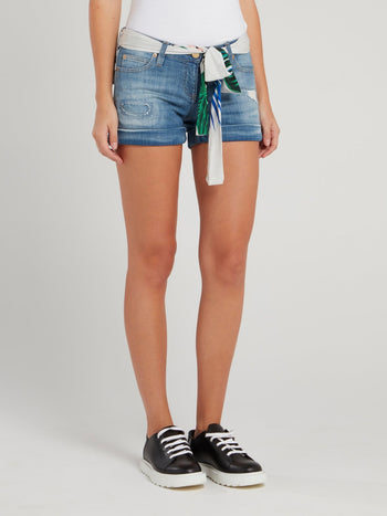 Chiffon Belted Distressed Denim Shorts