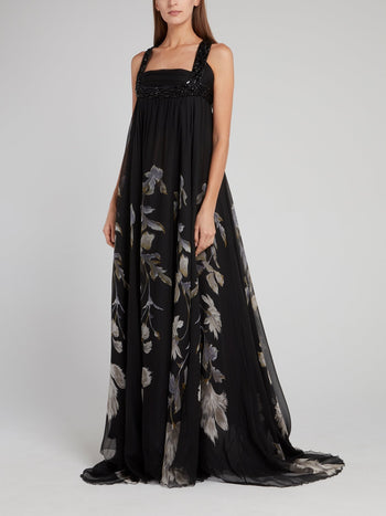 Black Open-Back Floral Printed Maxi Dress