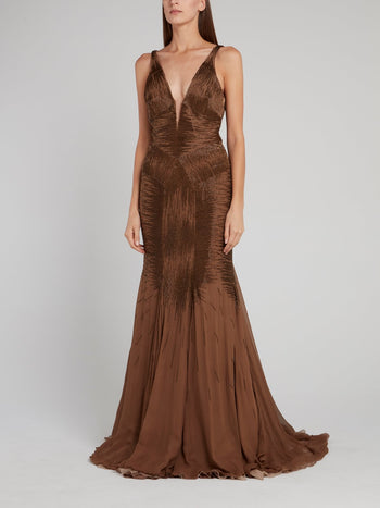 Brown Embellished Plunge Maxi Dress