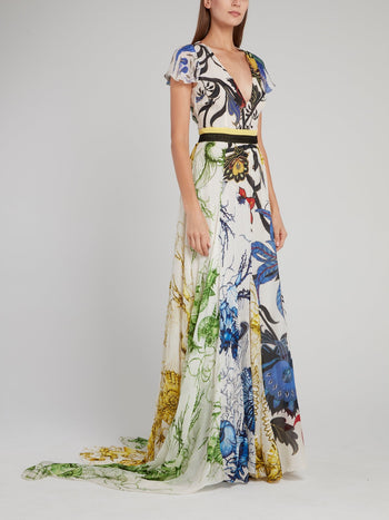 Floral Print Cap Sleeve Plunge Maxi Dress