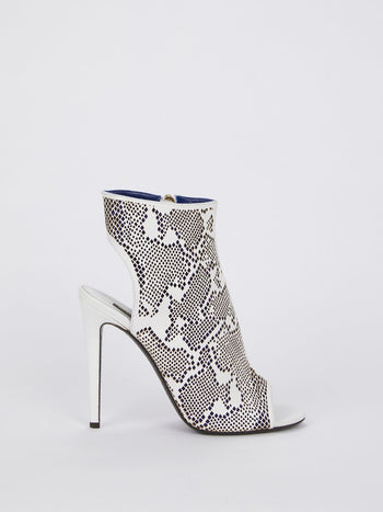 White Open Back Ankle Boots