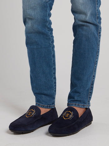 Navy Logo Embroidered Suede Loafers
