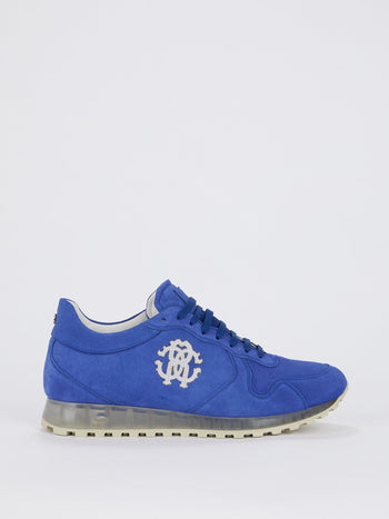 Blue Logo Appliquéd Suede Sneakers