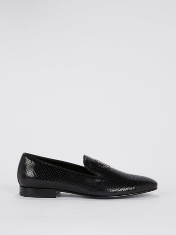 Black Snake Skin Textured Leather Loafers