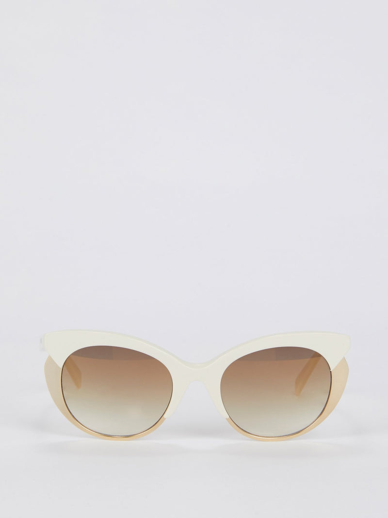 Brown Mirror Lens Gold Frame Sunglasses