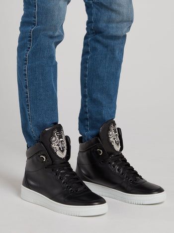 Black Monogram Flap High Top Sneakers