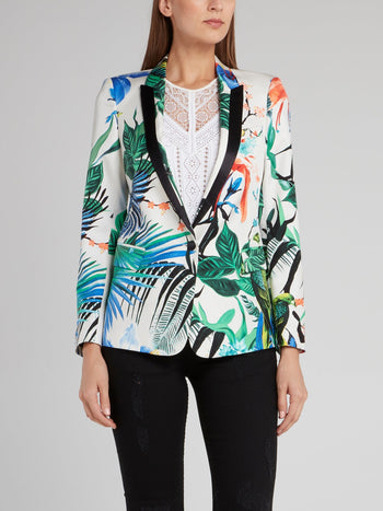 Floral Printed Notched Collar Blazer