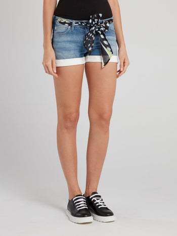 Denim Shorts With Chiffon Belt