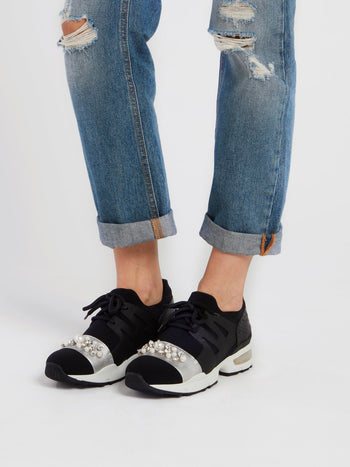 Black Pearl Embellished Low Top Sneakers