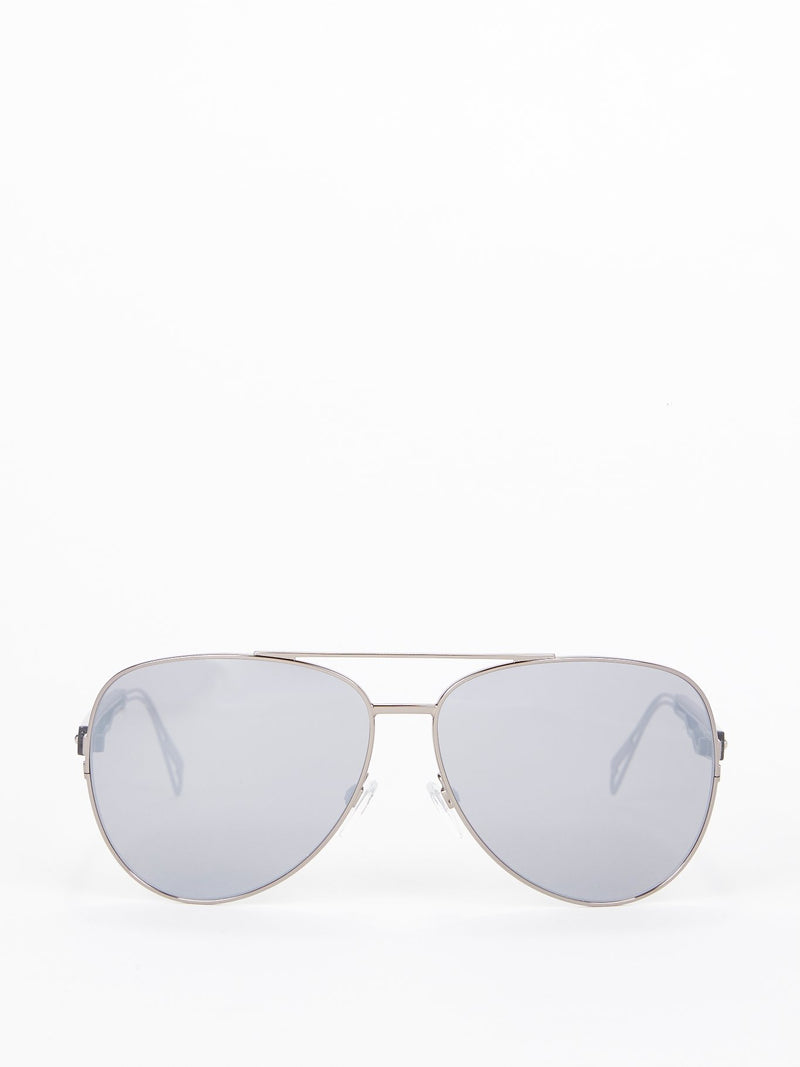 Gun Metal Smoke Mirror Aviator Sunglasses