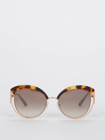 Tortoiseshell Cat Eye Logo Sunglasses