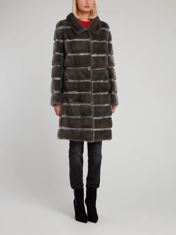 Ash Crystal Embellished Fur Coat