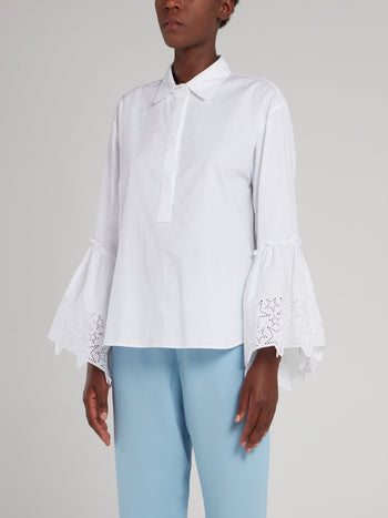 White Perforated Star Bell Sleeve Shirt