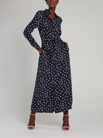 Navy Butterfly Print Maxi Dress