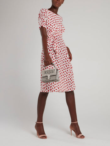 Lip Print Ruched Sleeve Midi Dress