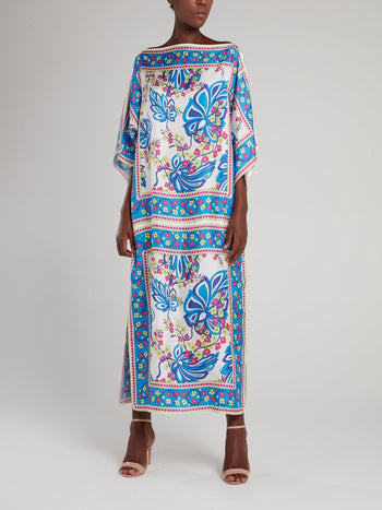 Blue Printed Boat Neck Maxi Dress