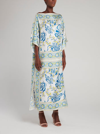Light Blue Printed Boat Neck Maxi Dress