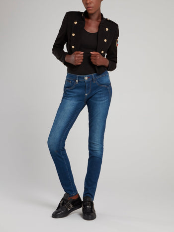 Black Button Embellished Appliquéd Jacket