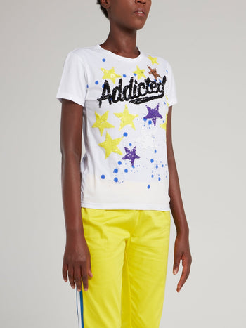 White Sequin Stars Statement T-Shirt