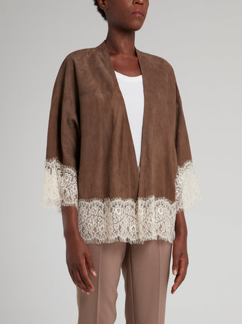 Brown Lace Hem Jacket