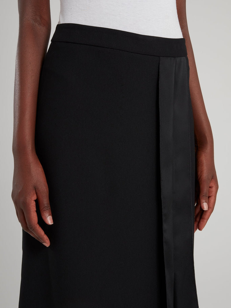 Black Asymmetric Midi Skirt