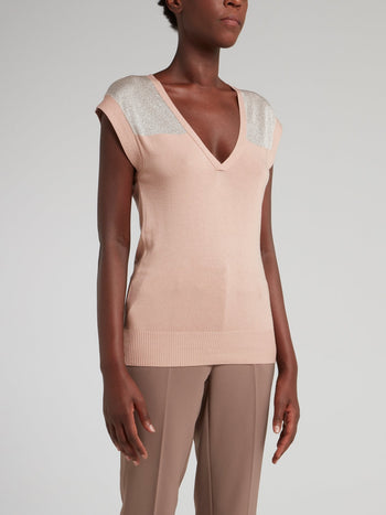 Pink with Silver Panel V-Neck Top