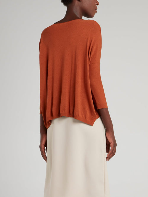 Orange Knitted Trapeze Top