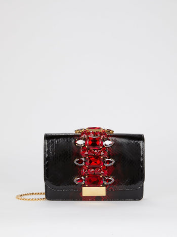 Cliky Python Noir Red Embellished Shoulder Bag
