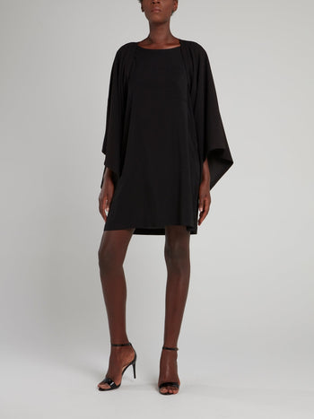 Black Crewneck Shift Dress