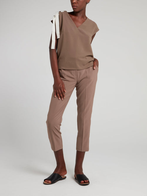 Brown Strap Detail V-Neck Top