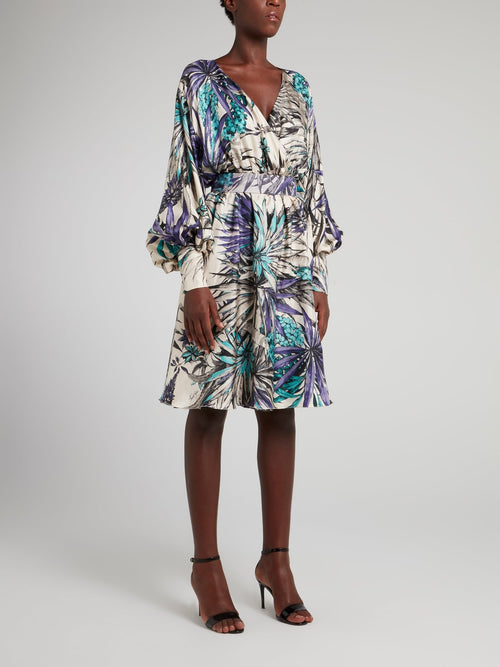 Tropical Print Bishop Sleeve Surplice Dress