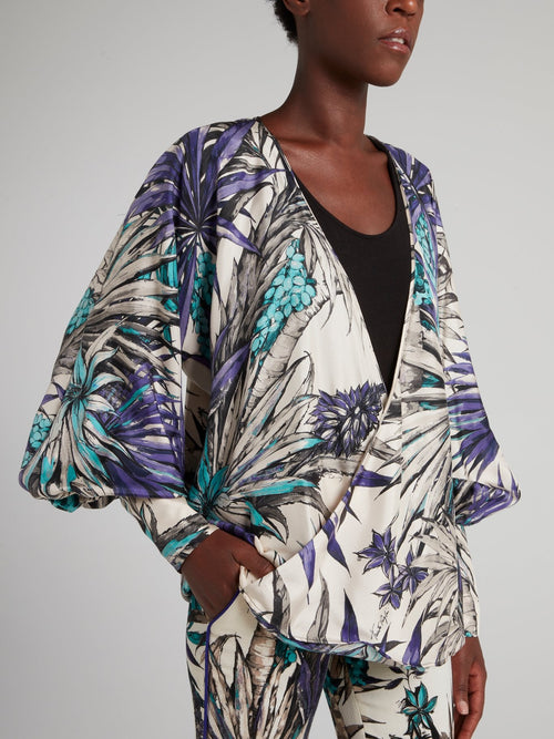 Tropical Print Surplice Top